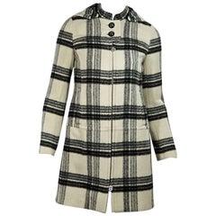 White & Black Tory Burch Plaid Wool Coat