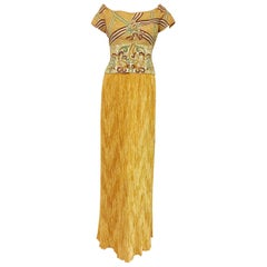 Marvelous Mary McFadden Off Shoulder Gold Gown with Heavily Beaded Bodice