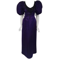 Collectible Oscar de la Renta Belle of the Ball Purple Gown with Puffy Sleeves