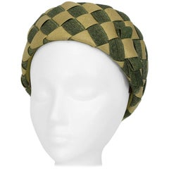 Christian Dior Green Woven Checkerboard Pillbox Hat, 1960s