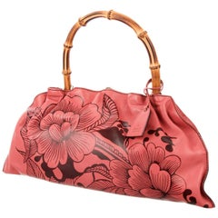 New Tom Ford for Gucci S/S 2003 Leather Coral Floral Bamboo Handbag