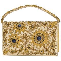 Lapis Lazuli and Embroidered Gold Bullion Zardozi Evening Bag, 1960s