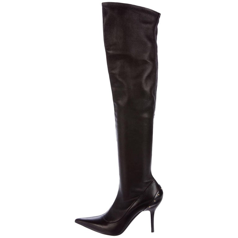 Tom Ford for Gucci F/W 2003 Over-the-Knee Stretch Leather Studded Boots 7.5