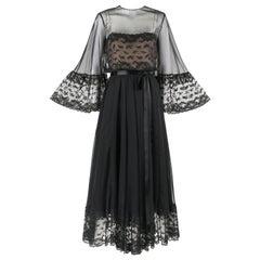 VICTORIA ROYAL LTD. c.1970's Black Chiffon Bell Sleeve Illusion Evening Gown