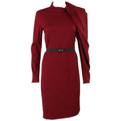 47231ee6a9 LANVIN A W 2011 Burgundy Red Wool Asymmetrical Draped Sleeve Cocktail Dress