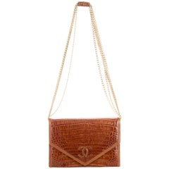 Chanel Cognac Crocodile Evening Clutch Shoulder Flap Bag