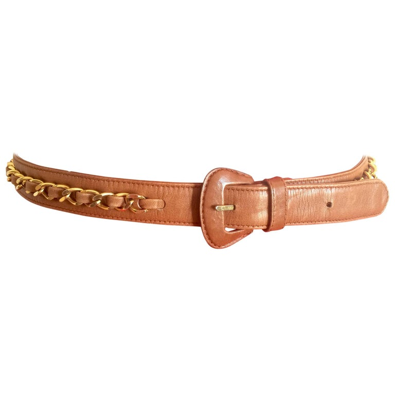 Vintage CHANEL brown leather belt with gold tone chains. Good for fanny pack too