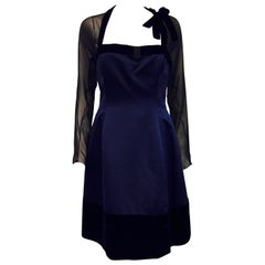 1990s Oscar de la Renta Navy Duchesse Satin Dress with Black Velvet Trim