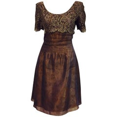 Luscious Liancarlo Silk and Lace Copper Cocktail Dress with Short Sleeves