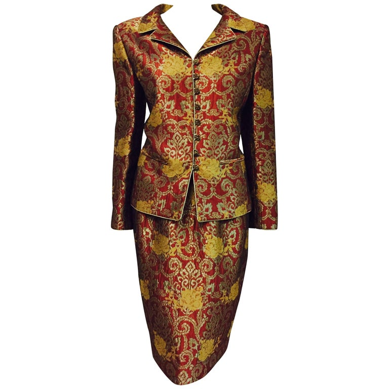 Magnificent Mary McFadden Floral Brocade Skirt Suit in Rust, Bronze and Gold