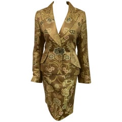 Glamorous Givenchy Gold Floral Brocade Skirt Suit With Iconic Gold Buttons