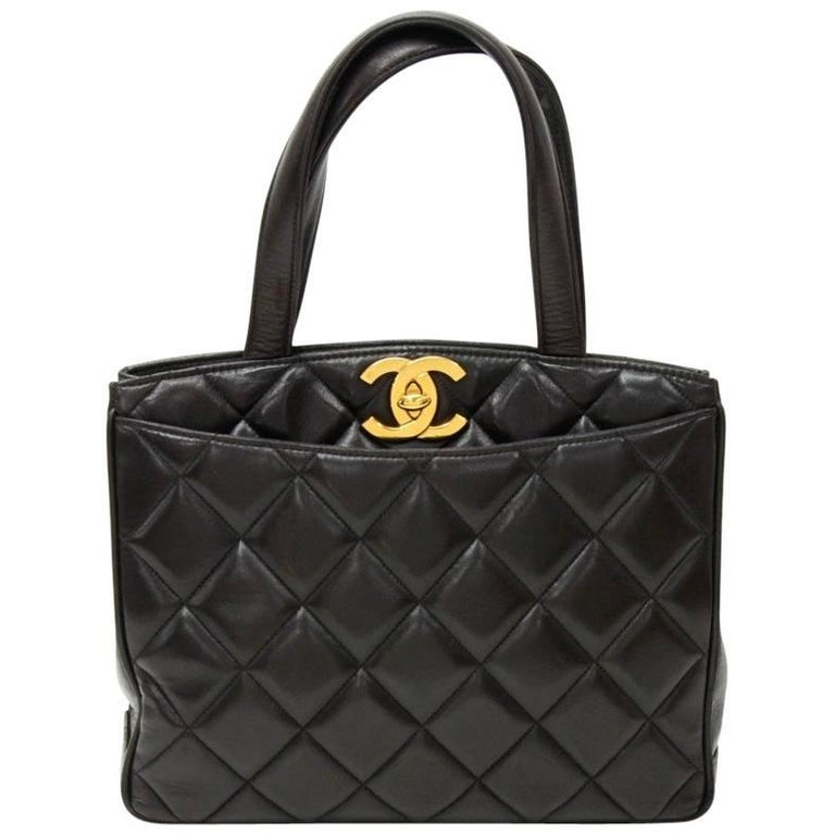 "Vintage Chanel 11"" Black Quilted Leather Tote Hand Bag"