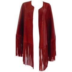 Leitmotiv unworn NWOT real leather red fringes jacket