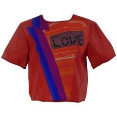"Leitmotiv red ""Love"" faux leather shirt NWOT"