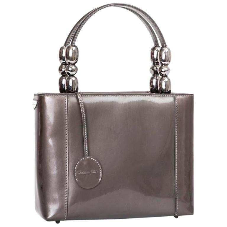 DIOR 'Lady D' Handbag in Brown Patent Leather