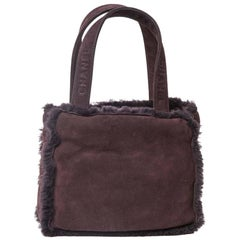 CHANEL Mini Tote Bag in Plum Brown Shearling