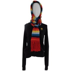 Love Moschino black wool cardigan multicolour scarf