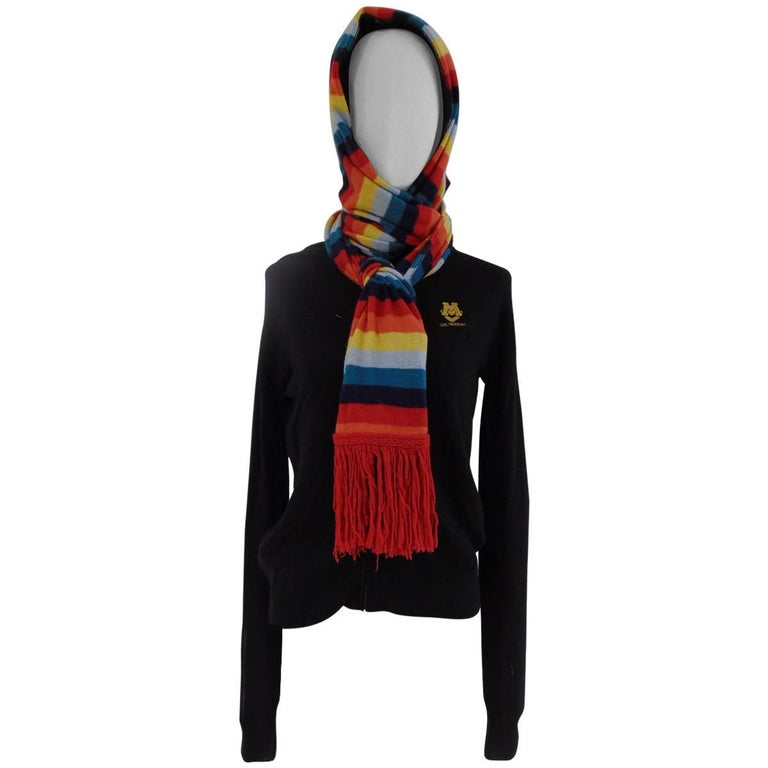 Love Moschino black wool cardigan multicolour scarf