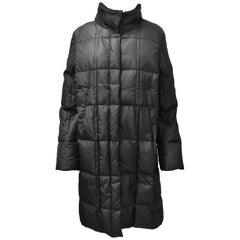 Jil Sander Dark Grey Tech Puffer Quilted Coat with Concealed Hood