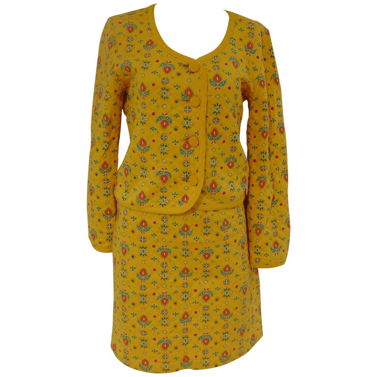Yves Saint Laurent Variation Cotton yellow flowers skirt suit