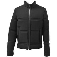Calvin Klein Grey Neoprene-Style Geometric Structured Jacket