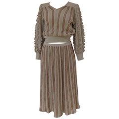 Missoni grey silver multicoloured wool silk skirt suit