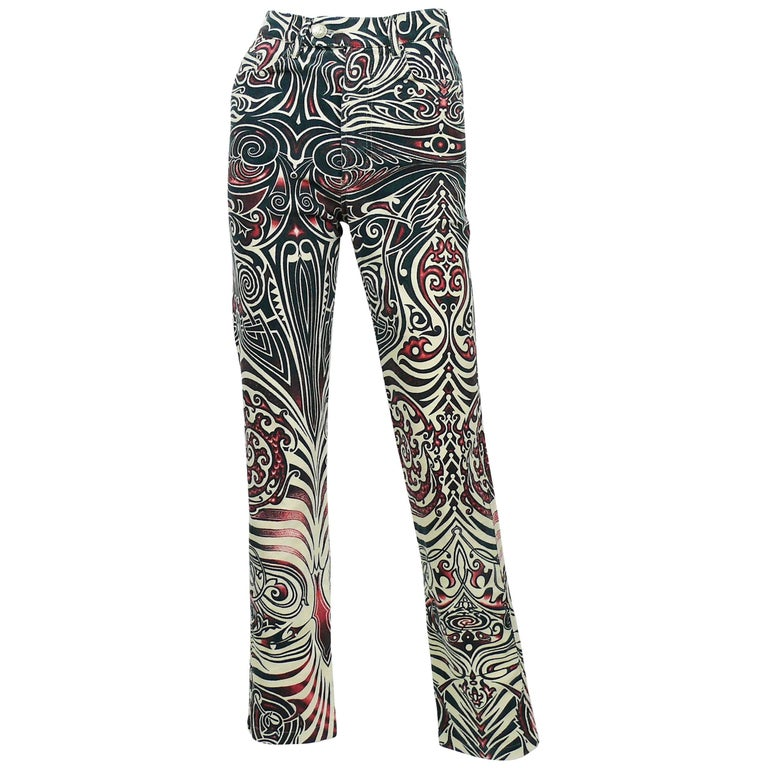 Jean Paul Gaultier Vintage Aboriginal Maori Tattoo Pants Trousers