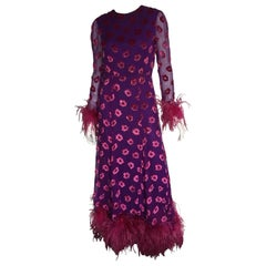 Pink velvet and purple chiffon feather maxi dress