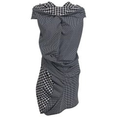 Comme des Garcons Junya Watanabe black and white check drape and pucker dress