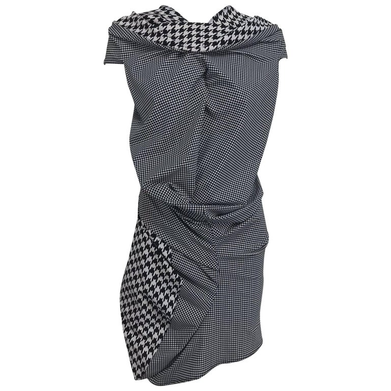 Comme des Garcons Junya Watanabe black and white check drape and pucker dress For Sale