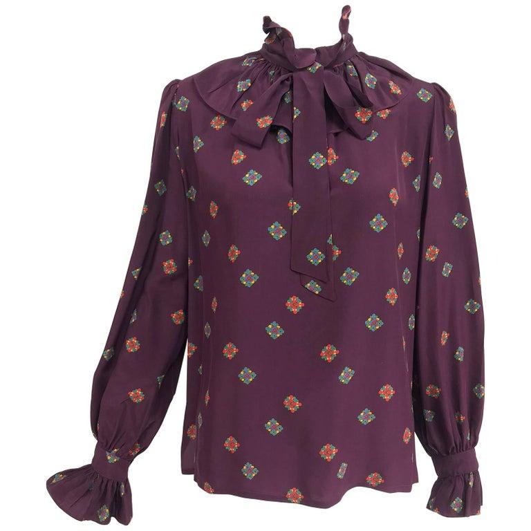 Vintage Yves Saint Laurent Ruffle bow tie floral silk blouse 1970s