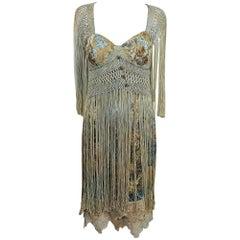 Constance McCardle art to wear fringe silk floral dress OOAK