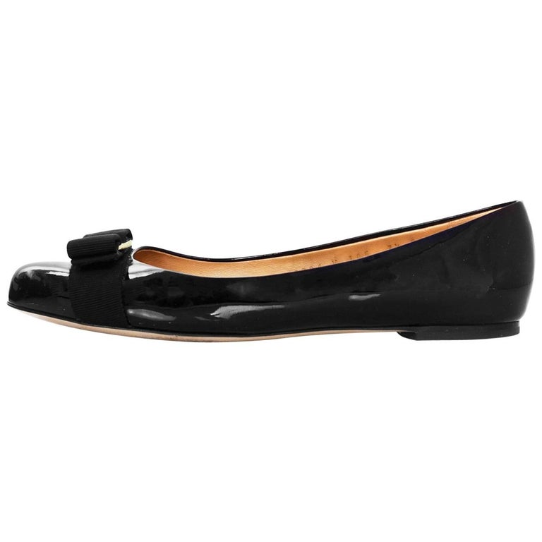 Salvatore Ferragamo Black Patent Leather Varina Bow Flats Sz 7.5C with Box, DB For Sale