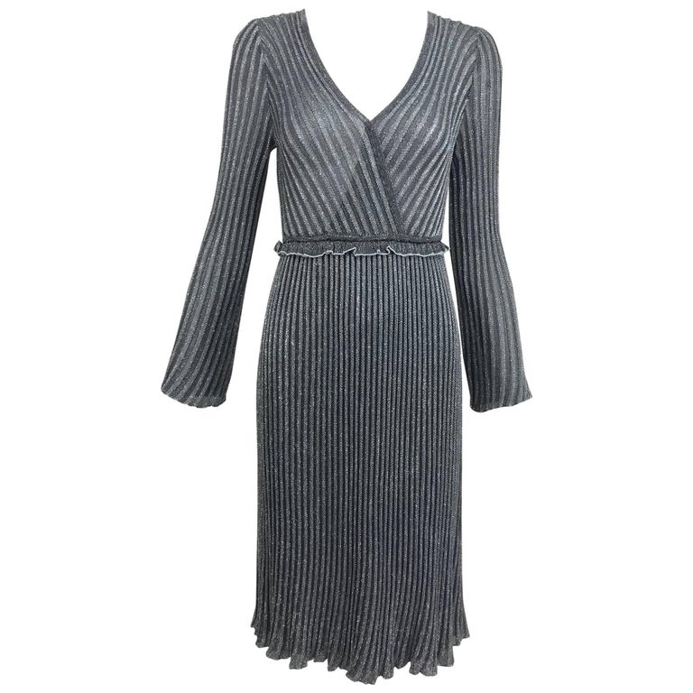 Vintage Missoni silver metallic knit plunge neckline dress 1990s