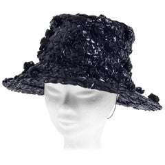 1960s Pierre Cardin Plastic Weaved Black Hat