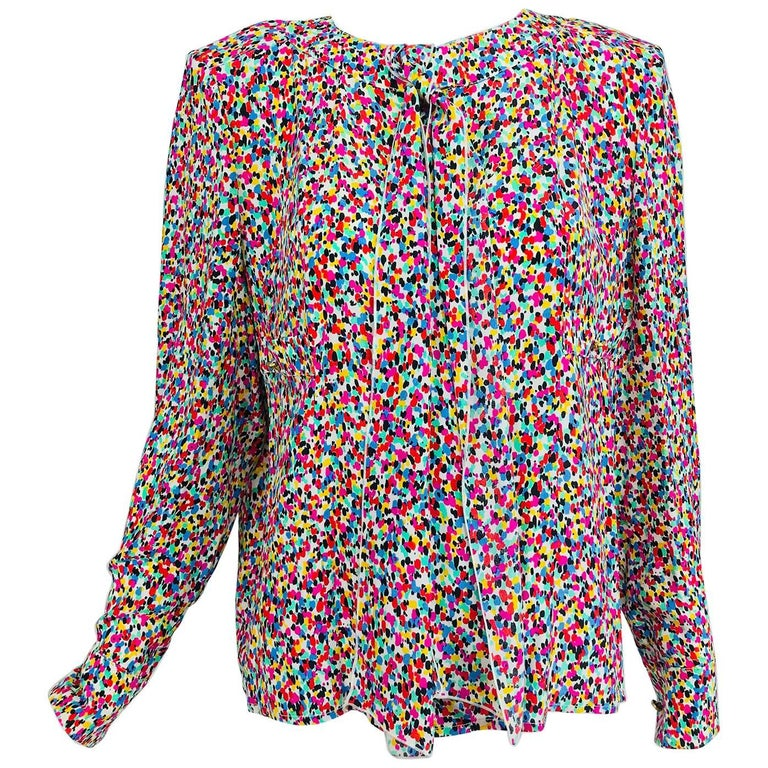 Chanel Silk confetti print bow tie long sleeve blouse