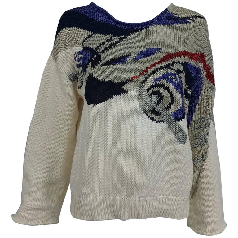 Vintage Krizia airplane knit sweater 1980s