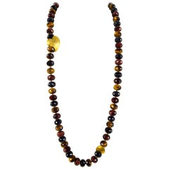 Beautiful Multi Color Tiger Eye Heart of My Heart Statement Necklace Estate Find