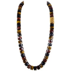 Coach House Stunning Multi Color Tiger Eye and Gold Beads Statement Necklace