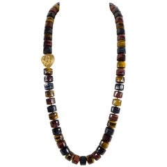Beautiful Multi Color Tiger Eye and Gold Beads Runway Necklace