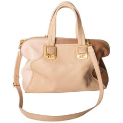Fendi Bowling Bag in Blush With Tan Accents and Detachable Shoulder Strap