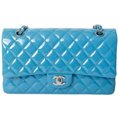 Chanel Teal Patent Double Flap Medium Classic with Silver Hardware