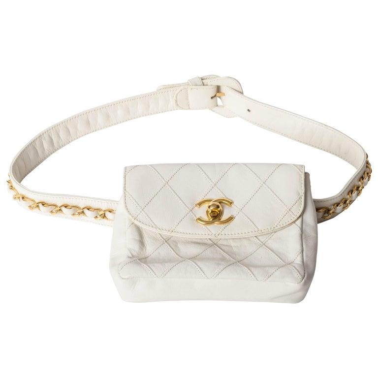 Chanel Vintage White Lambskin Fanny Pack  1