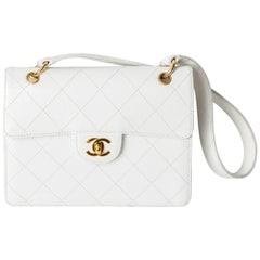 Chanel Shoulder Bag in White Caviar with Gold Hardware