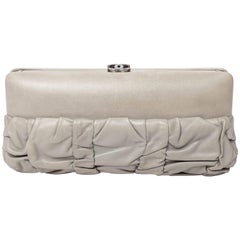 Chanel Grey Lambskin Clutch with Optional Shoulder Strap