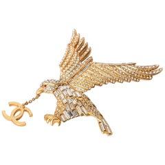 Chanel Vintage Gold Plated Eagle Brooch