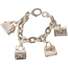 Hermes Birkin Charm Bracelet in Sterling Silver and Gold