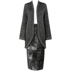 KRIZIA 2 Pc Metallic Oversized Mohair Knit Cardigan + Sueded Leather Skirt Set