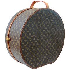 Louis Vuitton Boite Chapeaux Hat Box 50cm XL Round Monogram Travel Bag 1970s