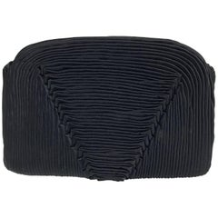 Bergdorf Goodman hand pleated black silk evening clutch 1930s